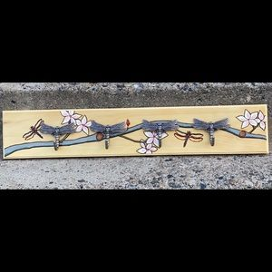 Dragonfly Coat Rack, Solid Wood, Cherry Blossoms